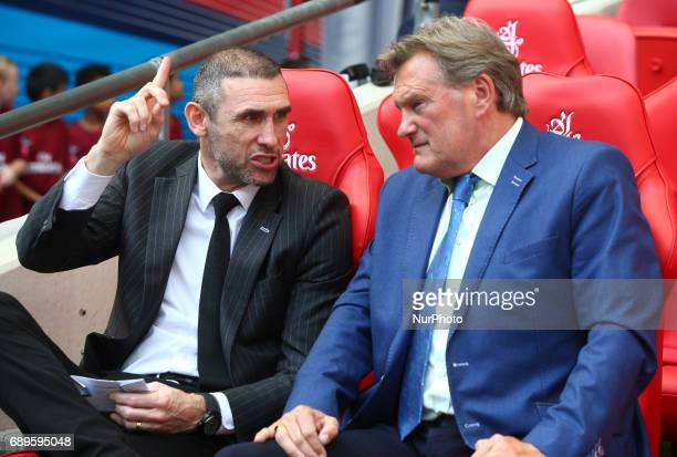 Former Arsenal player Martin Keown and Former England Manger Glenn Hoddle during The Emirates FA Cup Final between Arsenal against Chelsea at Wembley...