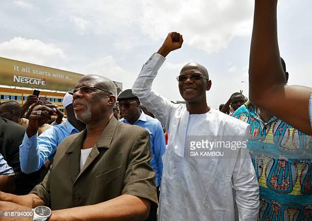 Former Assembly president and Liberte et democratie pour la Republique party's leader Mamadou Coulibaly gestures as Parti pour le Progres et le...