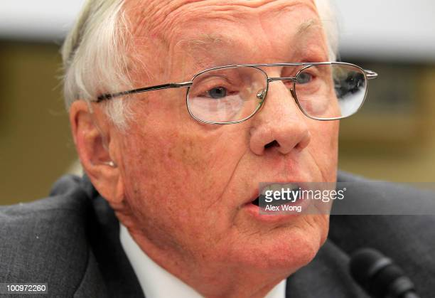 Former astronaut and commander of Apollo 11 Neil Armstrong testifies during a hearing before the House Science and Technology Committee May 26 2010...