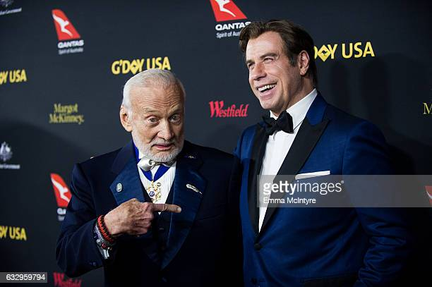 Former astronaut Buzz Aldrin and actor John Travolta attend the 2017 G'Day Black Tie Gala at The Ray Dolby Ballroom at Hollywood Highland Center on...