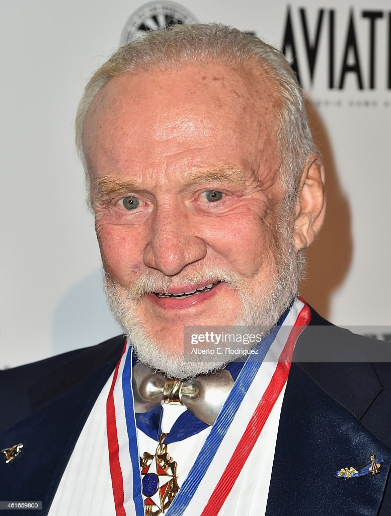 Former astronaut <a gi-track='captionPersonalityLinkClicked' href=/galleries/search?phrase=Buzz+Aldrin&family=editorial&specificpeople=90480 ng-click='$event.stopPropagation()'>Buzz Aldrin</a> attends the 12th Annual 'Living Legends of Aviation' at The Beverly Hilton Hotel on January 16, 2015 in Beverly Hills, California.
