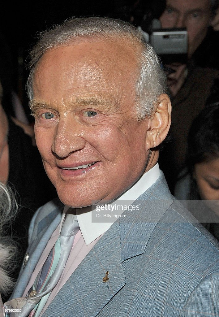 Former astronaut <a gi-track='captionPersonalityLinkClicked' href=/galleries/search?phrase=Buzz+Aldrin&family=editorial&specificpeople=90480 ng-click='$event.stopPropagation()'>Buzz Aldrin</a> attends the event to launch Nicey Nash's milkshake at Millions of Milkshakes on March 23, 2010 in West Hollywood, California.