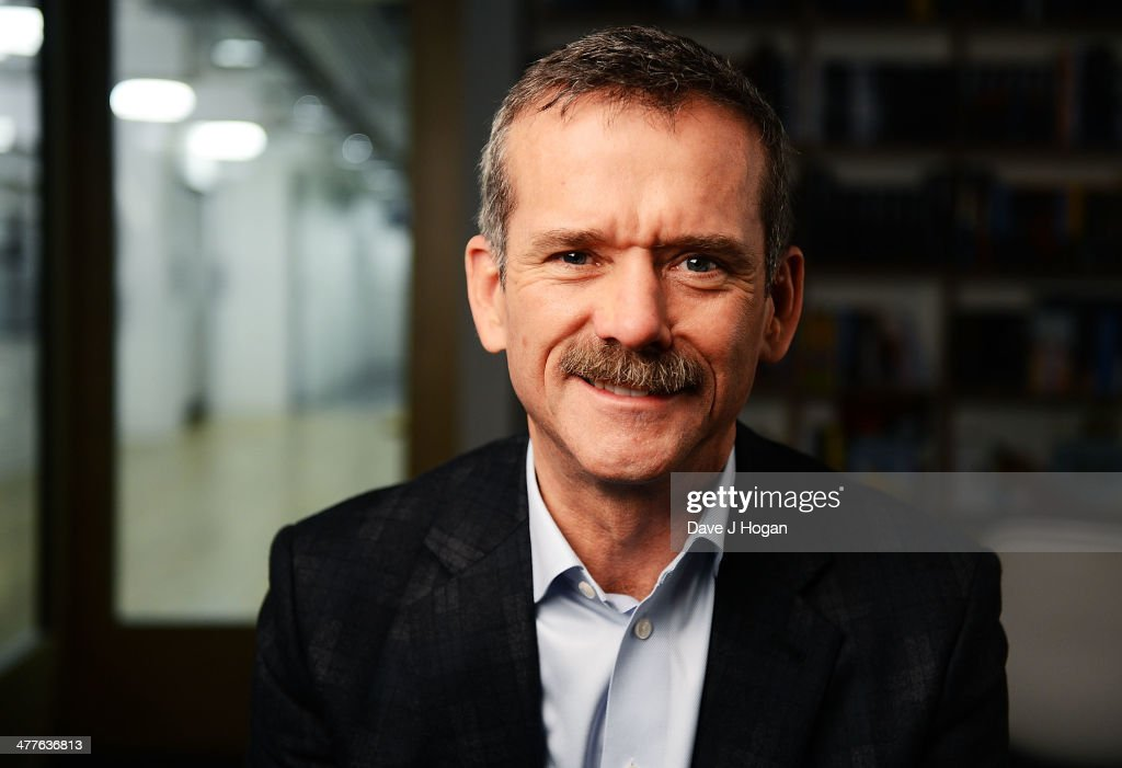 Former astronaut <a gi-track='captionPersonalityLinkClicked' href=/galleries/search?phrase=Chris+Hadfield&family=editorial&specificpeople=2700911 ng-click='$event.stopPropagation()'>Chris Hadfield</a> poses during the Live From Space link up to the International Space Station in London. The show will be aired on Channel 4 at 7.30 on Sunday March 16, 2014.