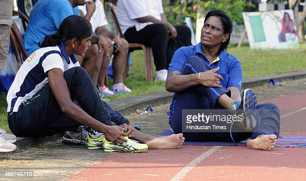 Former athlete and now coach PT Usha training with her protg Asian Games medalist Tintu Lukka during a training session at the 55th National Open...