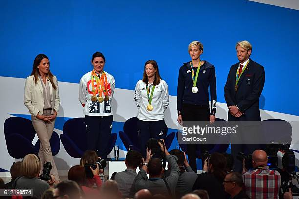 Former athlete Annie Emmerson talks to Team GB Olympic and Paralympic athletes Dame Sarah Storey Helen RichardsonWalsh Vicky Thornley and Andrew...