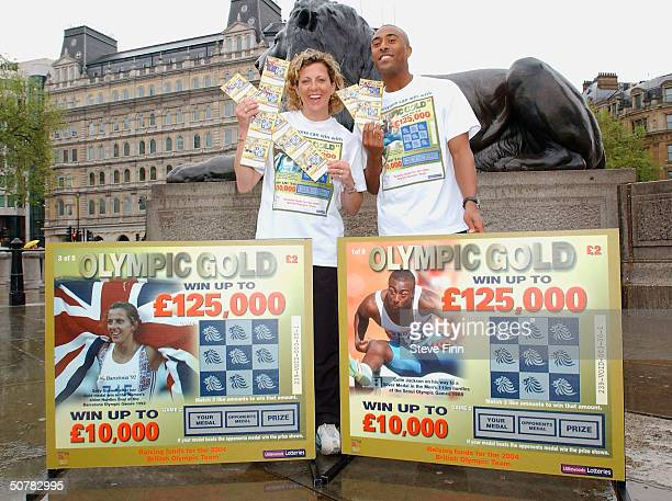 Former athletes Sally Gunnell and Colin Jackson help launch a new British Olympic Association 'Olympic Gold' Scratchcard in Trafalgar Square on April...