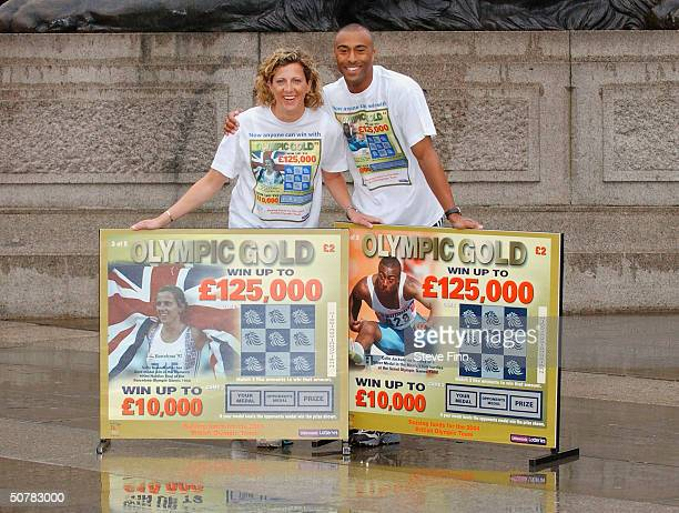 Former athletes Sally Gunnell and Colin Jackson help launch the new British Olympic Association 'Olympic Gold' Scratchcard in Trafalgar Square on...