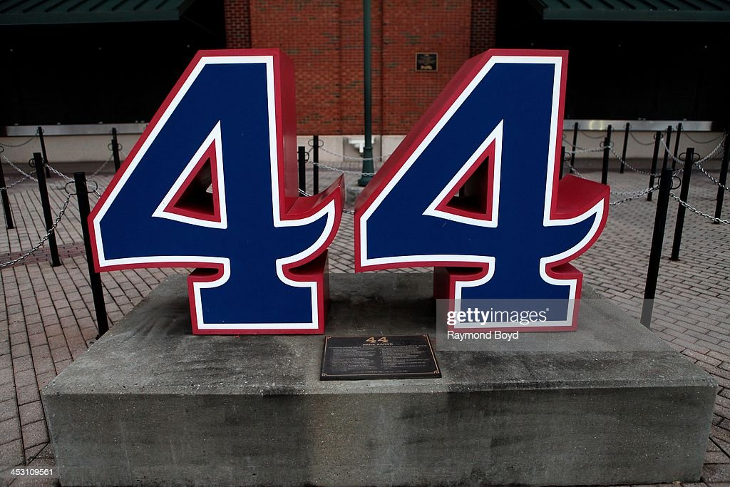 Former Atlanta Braves outfielder Hank Aaron's retired number '44' sits along 'Monument Grove' at Turner Field home of the Atlanta Braves baseball...