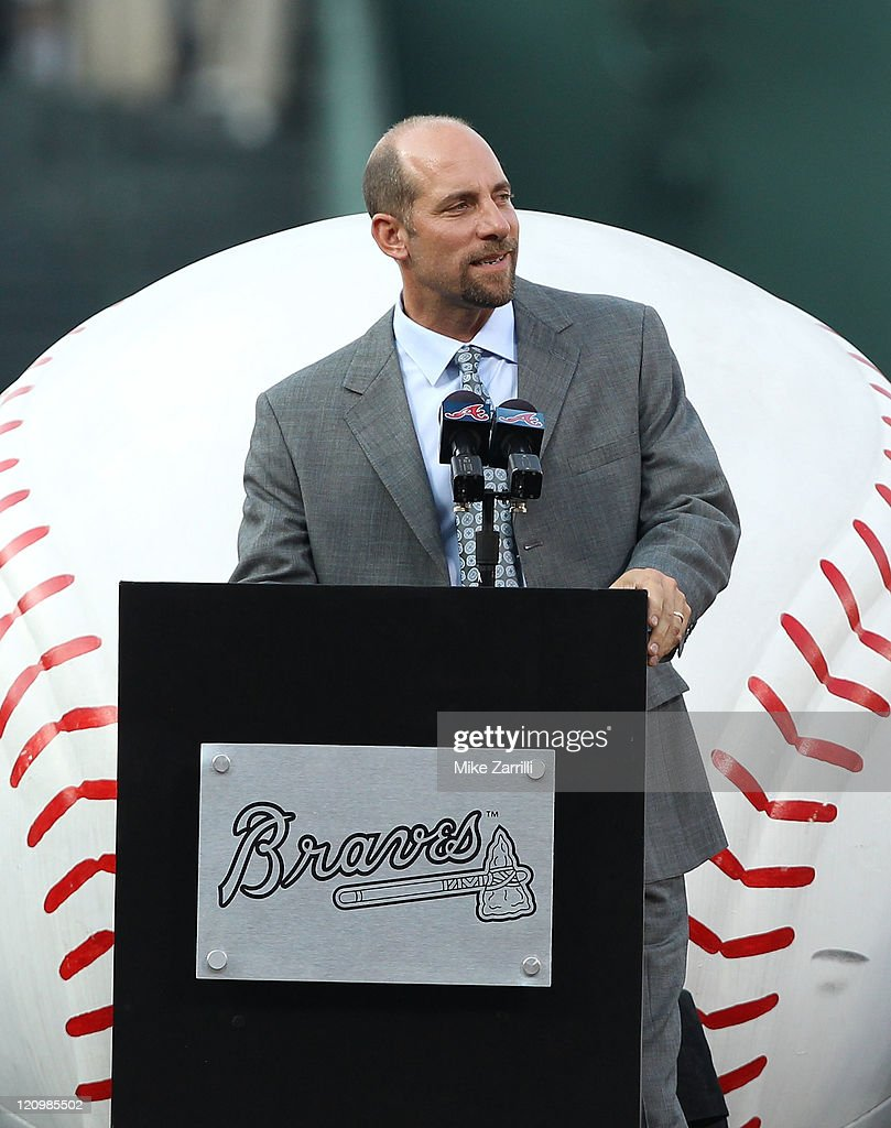 Former Atlanta Braves pitcher John Smoltz addresses the crowd during the Bobby Cox number retirement ceremony before the game between the Atlanta Braves and the Chicago Cubs at Turner Field on August 12, 2011 in Atlanta, Georgia.