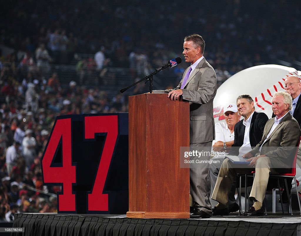 Former Atlanta Braves pitcher <a gi-track='captionPersonalityLinkClicked' href=/galleries/search?phrase=Tom+Glavine&family=editorial&specificpeople=202817 ng-click='$event.stopPropagation()'>Tom Glavine</a> speaks during a ceremony in which the Braves retired his jersey number 47 before the game against the San Francisco Giants at Turner Field on August 6, 2010 in Atlanta, Georgia. The Giants defeated the Braves 3-2.