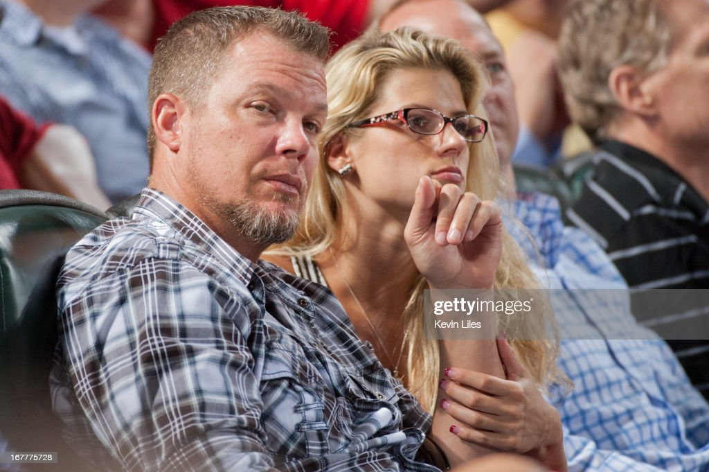 Former Atlanta Braves player <a gi-track='captionPersonalityLinkClicked' href=/galleries/search?phrase=Chipper+Jones&family=editorial&specificpeople=171256 ng-click='$event.stopPropagation()'>Chipper Jones</a> (left) and his girlfriend Lexi Ray during the game between the Atlanta Braves and Washington Nationals at Turner Field on April 29, 2013 in Atlanta, Georgia. The Braves defeated the Nationals 3-2.