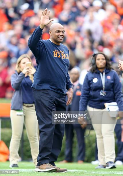 Former Auburn Tiger basketball star Charles Barkley is introduced to the crowd during a football game between the Auburn Tigers and the Alabama...