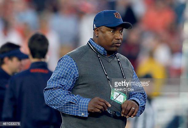 Former Auburn Tigers Bo Jackson looks on prior to the 2014 Vizio BCS National Championship Game against the Florida State Seminoles at the Rose Bowl...