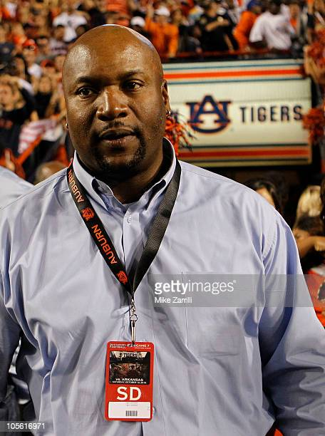 Former Auburn Tigers football player Bo Jackson watches the action on the sideline during the game between the Auburn Tigers and the Arkansas...