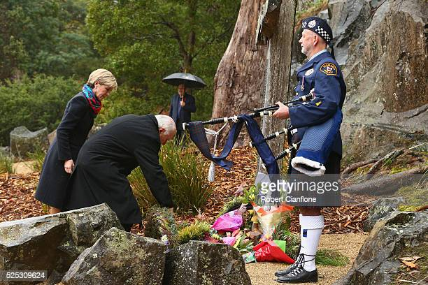 Former Australia prme Minister John Howard and Julie Bishop lay a wreath during the 20th anniversary commemoration service of the Port Arthur...
