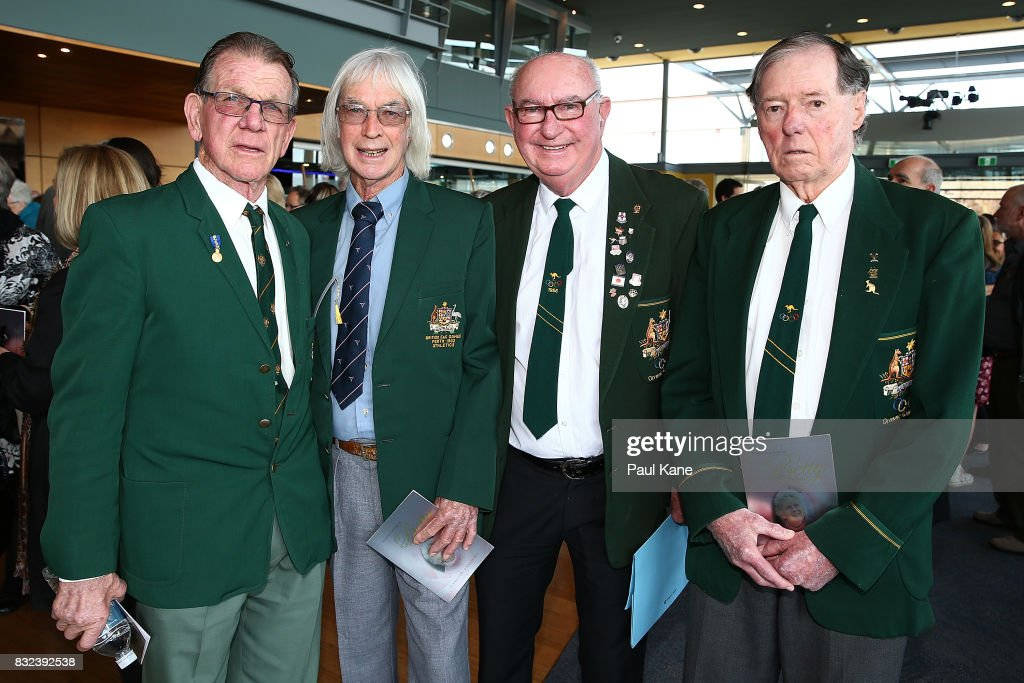 Former Australian athletes Henk Vogels, Trevor Bickle, John Goodman and Graham Gipson pose before the funeral service for Betty Cuthbert at Mandurah Performing Arts Centre on August 16, 2017 in Mandurah, Australia. Betty Cuthbert was known as 'The Golden Girl' at the 1956 Melbourne Olympics, winning the 100m, 200m and 4x100m relay. After sustaining an injury at the Rome Olympics in 1960, Cuthbert came out of a short-lived retirement to win her fourth Olympic gold medal in the 400m at the 1964 Tokyo Olympic Games. Betty Cuthbert passed away on 6 August 2017, aged 79.