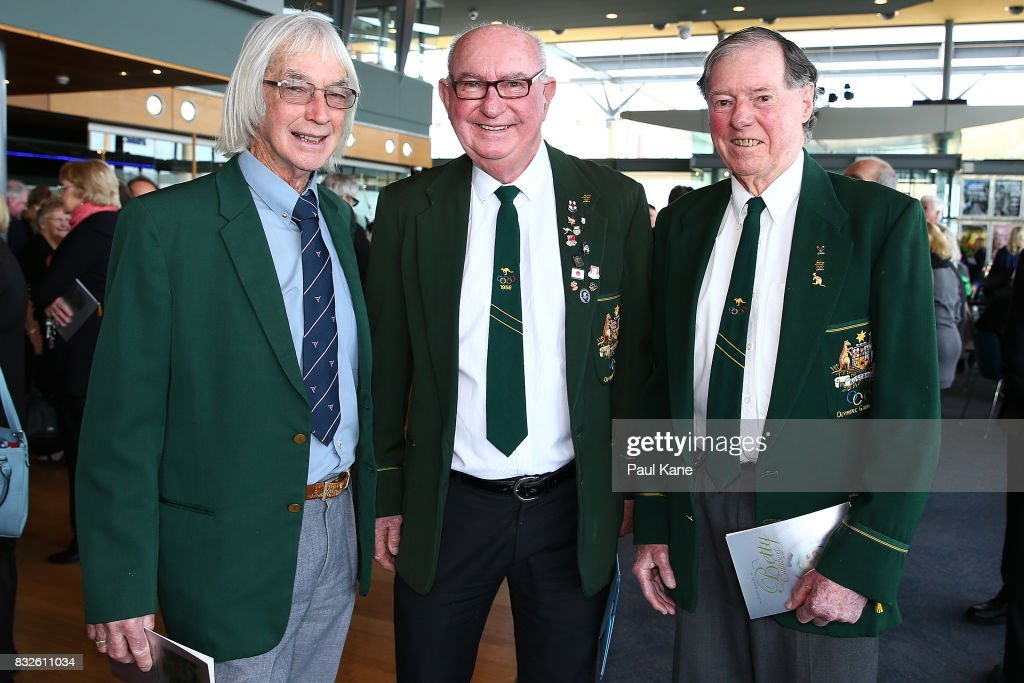 Former Australian athletes Trevor Bickle, John Goodman and Graham Gipson pose before the funeral service for Betty Cuthbert at Mandurah Performing Arts Centre on August 16, 2017 in Mandurah, Australia. Betty Cuthbert was known as 'The Golden Girl' at the 1956 Melbourne Olympics, winning the 100m, 200m and 4x100m relay. After sustaining an injury at the Rome Olympics in 1960, Cuthbert came out of a short-lived retirement to win her fourth Olympic gold medal in the 400m at the 1964 Tokyo Olympic Games. Betty Cuthbert passed away on 6 August 2017, aged 79.