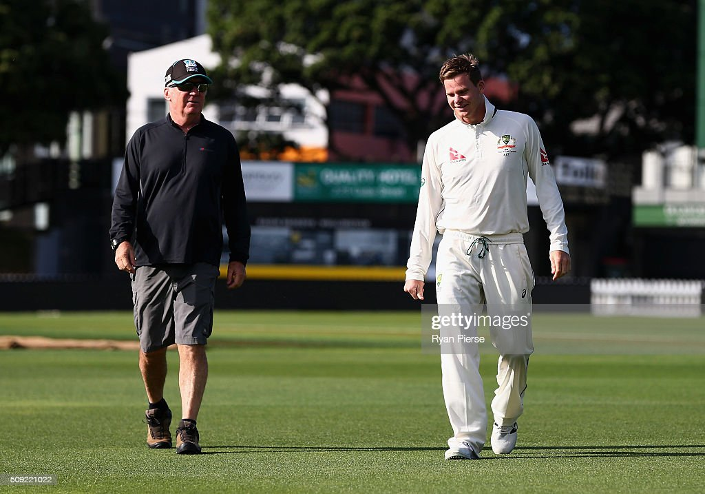 former Australian Captain <a gi-track='captionPersonalityLinkClicked' href=/galleries/search?phrase=Allan+Border&family=editorial&specificpeople=239234 ng-click='$event.stopPropagation()'>Allan Border</a> speaks with Steve Smith of Australia during an Australian nets session at Basin Reserve on February 11, 2016 in Wellington, New Zealand.