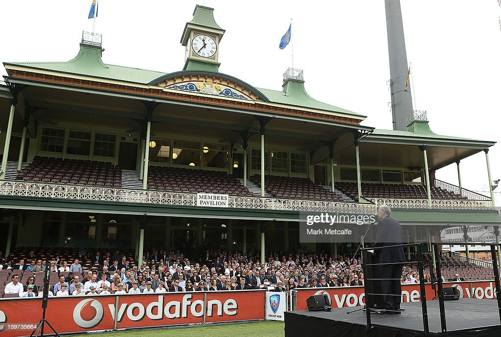 Former Australian captain and commentator Bill Lawry speaks on stage during the Tony Greig memorial service at Sydney Cricket Ground on January 20, 2013 in Sydney, Australia.