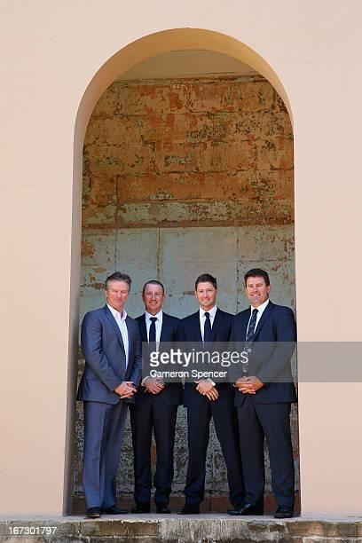 Former Australian captain Steve Waugh Brad Haddin of Australia Australian captain Michael Clarke and former Australian captain Mark Taylor pose...