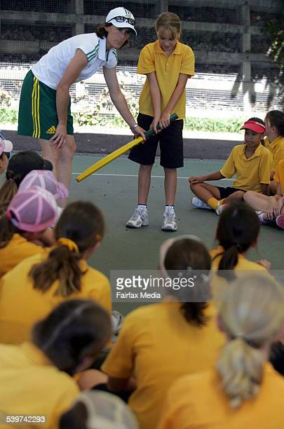 Former Australian Cricket captain Belinda Clark coaches students from New Lambton Public School 8 February 2006 NCH Picture by SIMONE DE PEAK