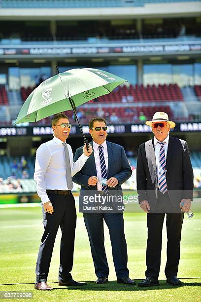 Former Australian cricket captains and channel 9 commentators Michael Clarke Mark Taylor and Ian Chappell look on prior to game five of the One Day...