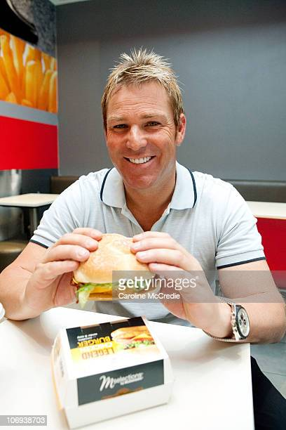 Former Australian cricket player Shane Warne attends the launch event for his new McDonald's burger 'The Legend' at the Broadway McDonald's on...