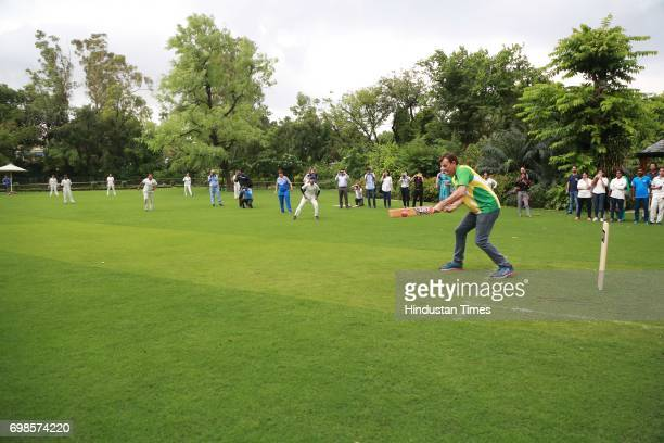 Former Australian Cricketer Adam Gilchrist batting during the fiveover friendly match between Education All Stars and Jesus and Mary College's...