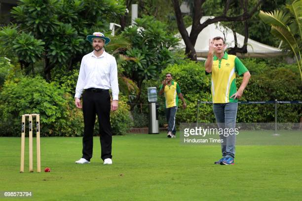 Former Australian Cricketer Adam Gilchrist bowls during the fiveover friendly match between Education All Stars and Jesus and Mary College's cricket...