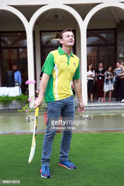 Former Australian Cricketer Adam Gilchrist during the five over friendly match between Education All Stars and Jesus and Mary College's cricket team...