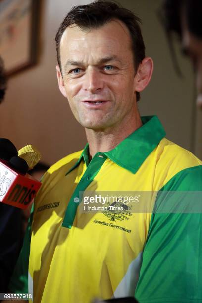 Former Australian Cricketer Adam Gilchrist during the fiveover friendly match between Education All Stars and Jesus and Mary College's cricket team...