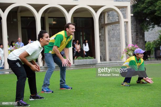 Former Australian Cricketer Adam Gilchrist fields during the fiveover friendly match between Education All Stars and Jesus and Mary College's cricket...