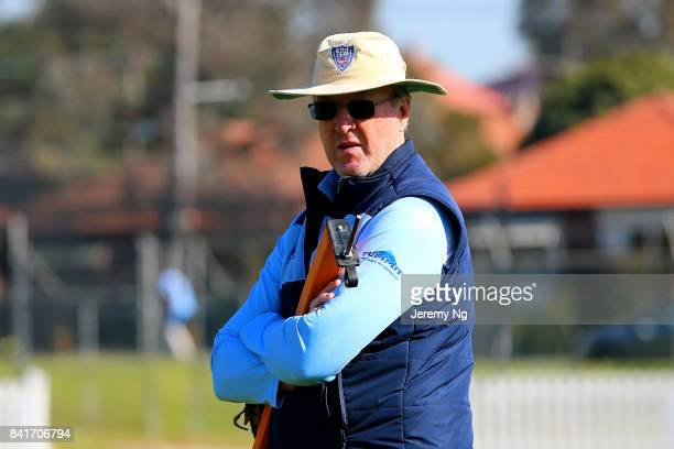 Former Australian cricketer Geoff Lawson looks on during the Cricket NSW Intra Squad Match at Hurstville Oval on September 2 2017 in Sydney Australia