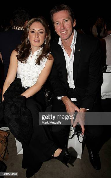 Former Australian cricketer Glenn MCGrath and partner Sara Leonardi sit in the front row for the Bianca Spender collection show on the third day of...