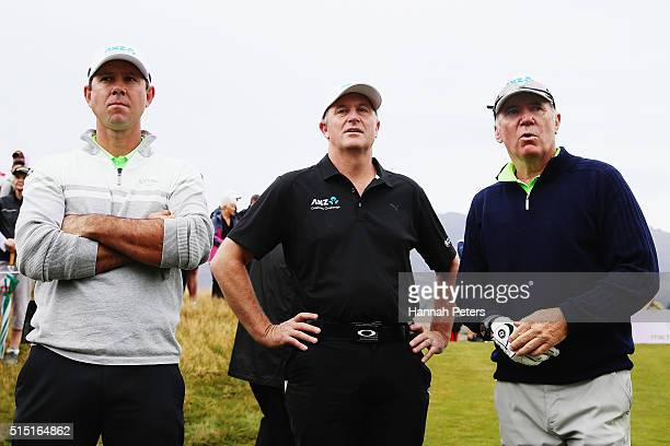 Former Australian cricketer Ricky Ponting New Zealand Prime Minister John Key and former Australian cricketer Alan Border look on at the first tee...