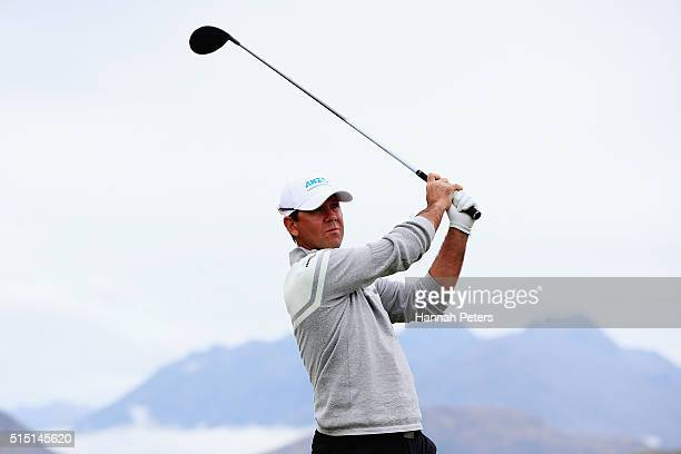 Former Australian cricketer Ricky Ponting tees off during day four of the 2016 New Zealand Open at The Hills on March 13 2016 in Queenstown New...