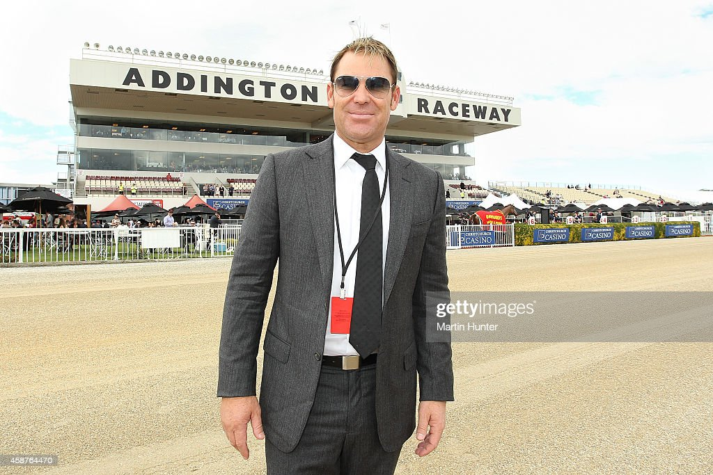 Former Australian cricketer Shane Warne arrives to host a press conference prior to the New Zealand Trotting Cup at Addington Raceway on November 11, 2014 in Christchurch, New Zealand.