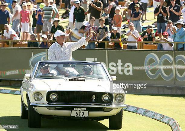 Former Australian fast bowler Dennis Lillee drives a lap of honour after being inducted into the ICC hall of Fame during day two of the Third Test...
