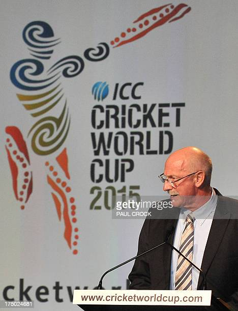 Former Australian fastbowler Denis Lillee addresses guests at the official launch of the 2015 Cricket World Cup in Melbourne on July 30 2013 The...
