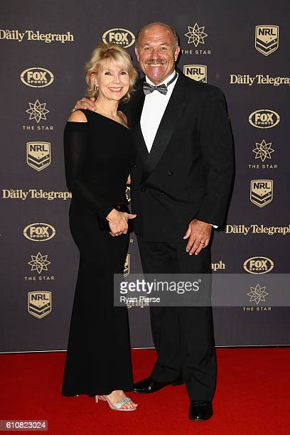 Former Australian Kangaroos captain and Rugby League Immortal Wally Lewis and his wife Jacqueline Lewis arrive at the 2016 Dally M Awards at Star...