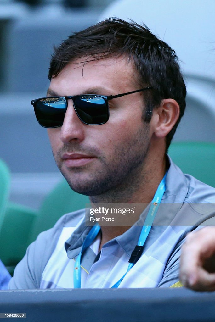 Former Australian olympic swimmer <a gi-track='captionPersonalityLinkClicked' href=/galleries/search?phrase=Ian+Thorpe&family=editorial&specificpeople=162699 ng-click='$event.stopPropagation()'>Ian Thorpe</a> watches the first round match between Samantha Stosur of Australia and Kai-Chen Chang of Chinese Taipei during day one of the 2013 Australian Open at Melbourne Park on January 14, 2013 in Melbourne, Australia.
