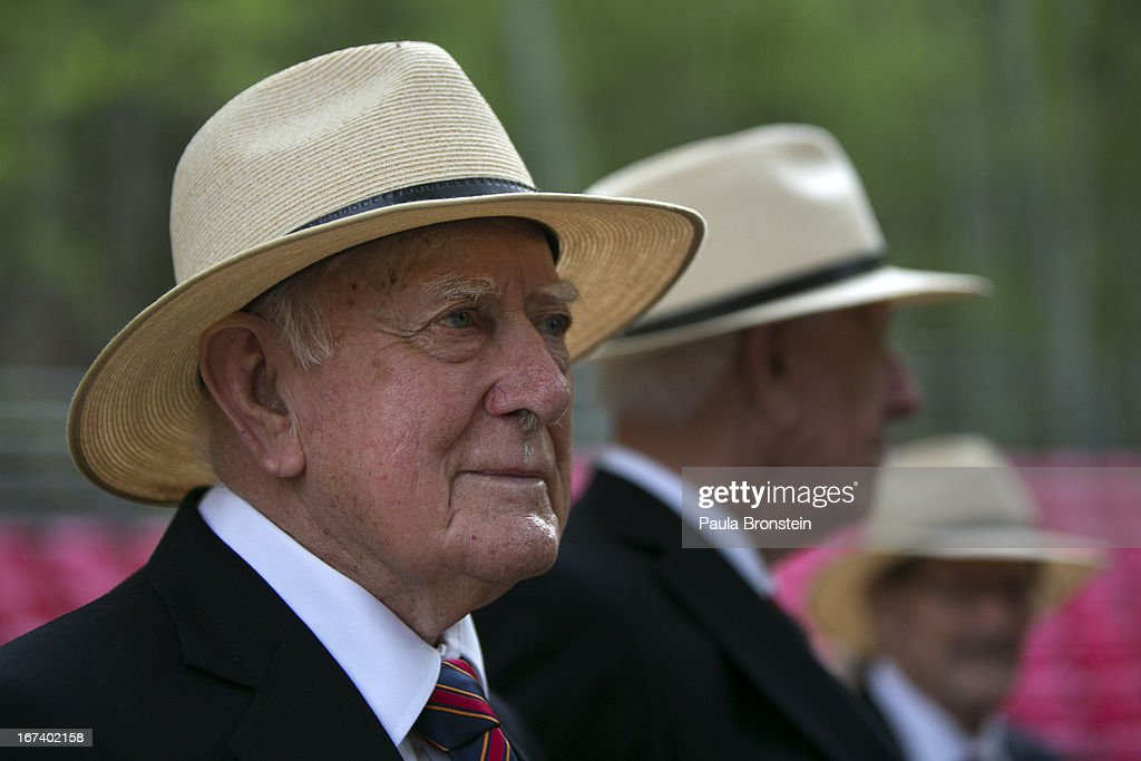 Former Australian POW Robert Goodwin, 92, stands with other elderly POW's after the sunrise memorial service in remembrance of all those who lost their lives April 25, 2013 in Hellfire Pass, Thailand. Hellfire Pass is a small section of the Burma-Thailand railway which was built by POW's and Asian Laborers under horrific conditions during the Second World War (WWII). Heavy loss of life was suffered during construction due to disease, starvation and exhaustion.