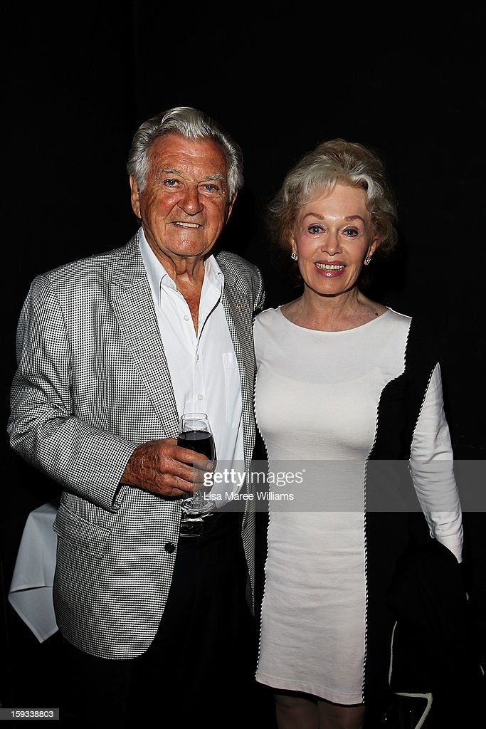 Former Australian prime minister Bob Hawke and his wife Blanche d'Alpuget attend the opening night of 'The Secret River' at the Sydney Theatre Company on January 12, 2013 in Sydney, Australia.