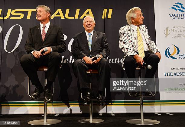 Former Australian prime minister Bob Hawke with Australia II skipper John Bertrand and yacht owner Alan Bond answer questions at a luncheon to...