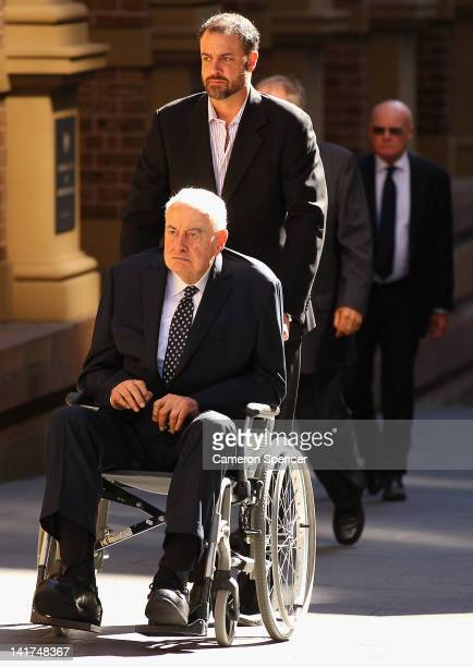 Former Australian Prime Minister Gough Whitlam arrives at the memorial service for his wife Margaret Whitlam at St James Anglican Church on March 23...