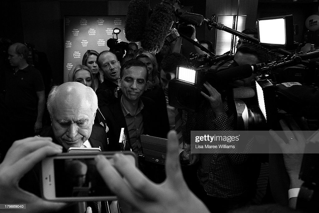 Former Australian Prime Minister John Howard finishes a interview with the press during the Liberal Party Election function on September 7, 2013 in Sydney, Australia. Liberal-National Coalition leader Tony Abbott was elected Prime Minister in a landslide victory over Labor leader Kevin Rudd, bringing the conservative party to power for the first time in six years.