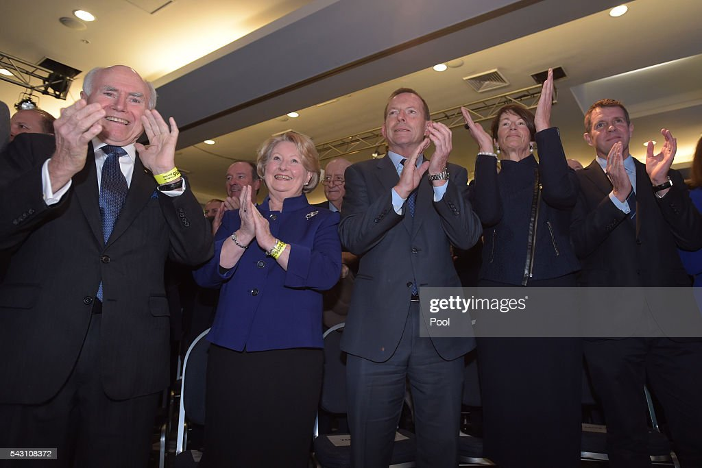Former Australian Prime Minister John Howard, his wife Janette, former Australian Prime Minister Tony Abbott, his wife Margie and NSW Premier Mike Baird attend the Coalition Campaign Launch in Sydney, Sunday, June 26, 2016. A federal election will be held in Australia on Saturday July 2.