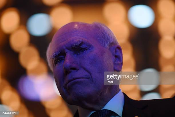 Former Australian Prime Minister John Howard reacts during the Liberal party election night event at the Sofitel Wentworthon July 2 2016 in Sydney...