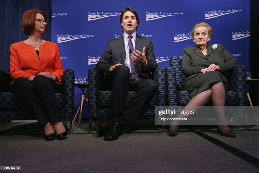 Former Australian Prime Minister <a gi-track='captionPersonalityLinkClicked' href=/galleries/search?phrase=Julia+Gillard&family=editorial&specificpeople=787281 ng-click='$event.stopPropagation()'>Julia Gillard</a>, Canadian Parliament Liberal Party member <a gi-track='captionPersonalityLinkClicked' href=/galleries/search?phrase=Justin+Trudeau&family=editorial&specificpeople=2616495 ng-click='$event.stopPropagation()'>Justin Trudeau</a> and former Secretary of State <a gi-track='captionPersonalityLinkClicked' href=/galleries/search?phrase=Madeleine+Albright&family=editorial&specificpeople=211429 ng-click='$event.stopPropagation()'>Madeleine Albright</a> participate in a panel discussion during a conference commemorating the 10th anniversary of the Center for American Progress in the Astor Ballroom of the St. Regis Hotel October 24, 2013 in Washington, DC. Co-founded by former Clinton Administration Chief of Staff John Podesta, the liberal public policy research and advocacy organization is a think tank that rivals conservative policy groups, such as the Heritage Foundation and the American Enterprise Institute.
