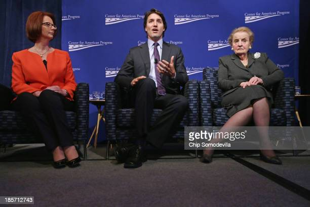 Former Australian Prime Minister Julia Gillard Canadian Parliament Liberal Party member Justin Trudeau and former Secretary of State Madeleine...